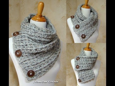 Nice idea/ways to wear a 3 button cowl.....Dallas Dream Scarf/3 Button Scarf Instructions Update - YouTube