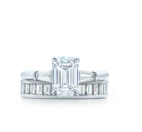 Trending Tiffany emerald cut diamond ring with tapered baguettes and channel set diamond wedding band http