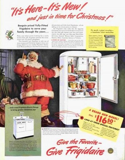 """It's Here, it's new, and just in time for Christmas!"" 1940 ad for Frigidaire refrigerators. The Saturday Evening Post."