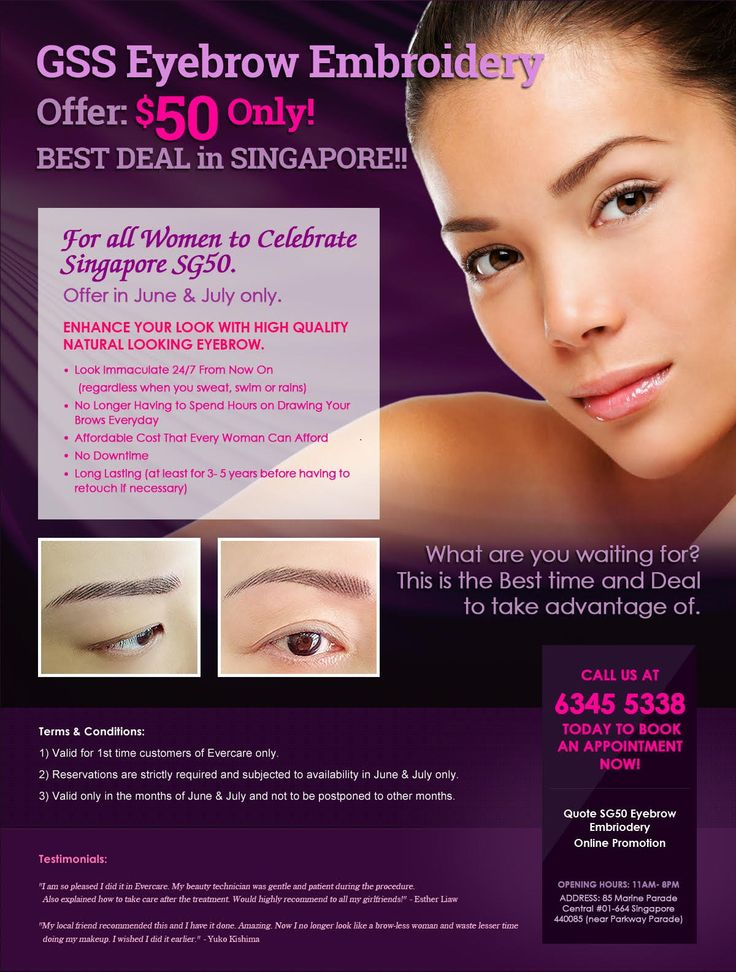 Natural looking eyebrow embroidery PROMOTION - S$50 Only!