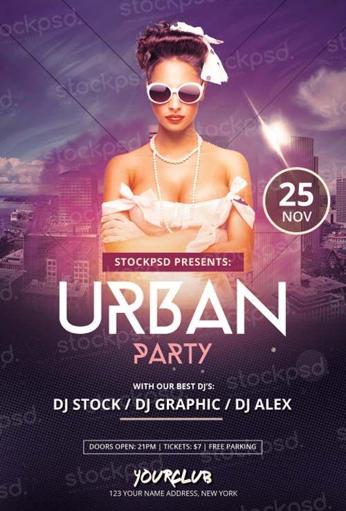 download urban party free psd flyer template free flyer templates