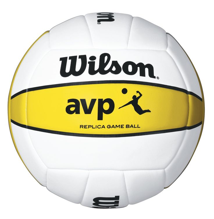 Wilson AVP Replica Outdoor Volleyball. Replica of the AVP Official Game Ball. Composite leather cover for greater durability. 18-panel machine-sewn construction. Butyl rubber bladder for extended air retention.