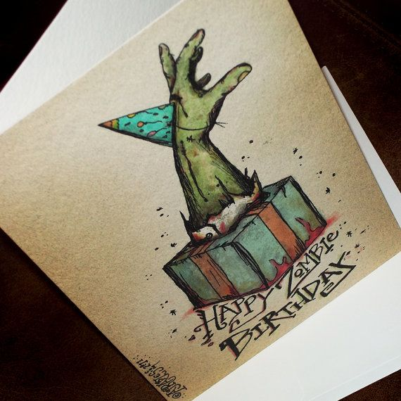 Zombie Birthday Party Hat Card bursting from the Gift by agorables, $4.45