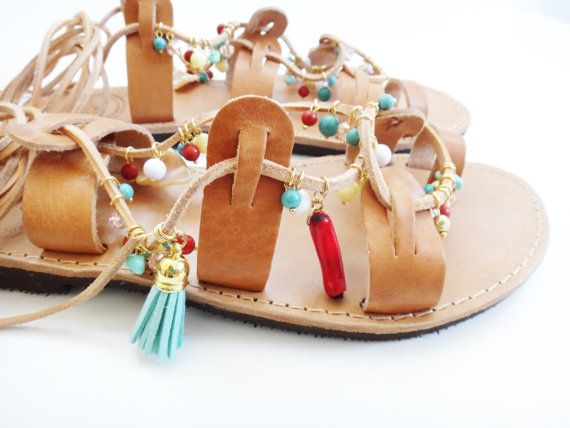 Iris Sandals   Bohemian chic handmade leather sandals with adjustable leather straps adorned with coral gemstones, turquoise howlite gemstones, mother
