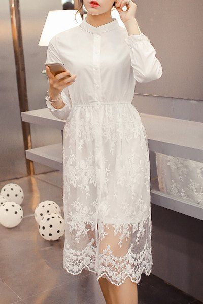 Charming Stand Collar Long Sleeve White See-Through Women's Shirt Dress: