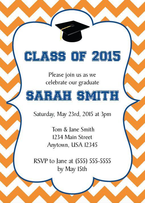 Graduation Party Invitation, Graduate, Class of 2015, College Grad, High School Grad, DIY, Personalized, Print Yourself by NestedExpressions