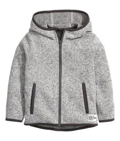 Strikket fleecejakke   Gråmeleret   Børn   H&M DK