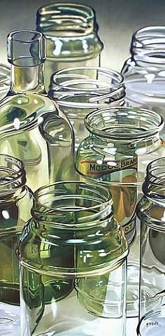 LOVE this, but painting all those reflections and transparencies in 100 shades of off-white and glass green would drive me nuts. (Repin: Eight Glass Jars by Gary Cody)