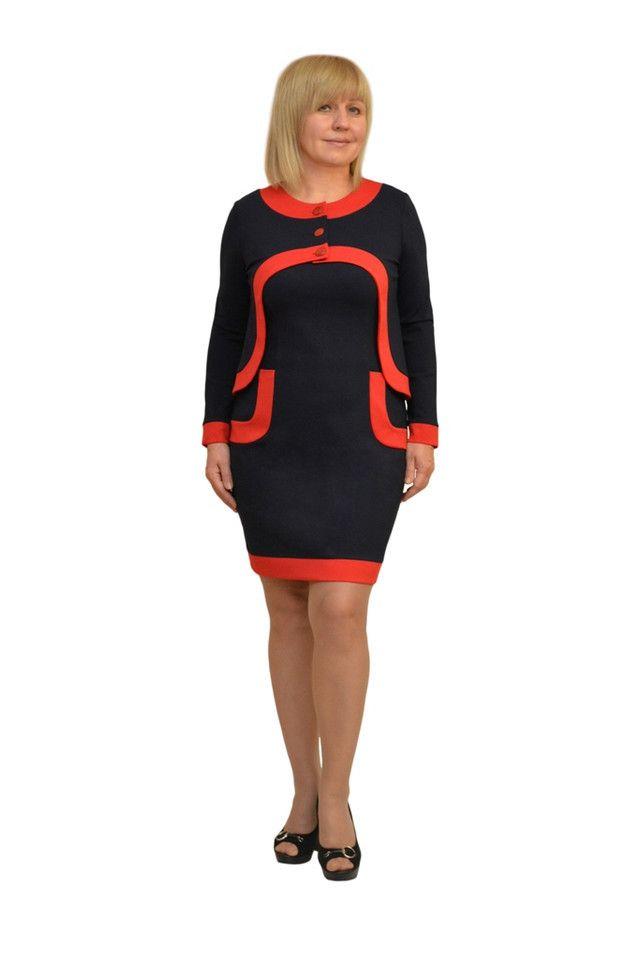 """Платье + пиджак """"Одри"""" т.синее+крас. - Модель 850-2 женская одежда оптом от украинского производителя, платья, юбки, костюмы, женская одежда больших размеров - ТМ Dimoda"""