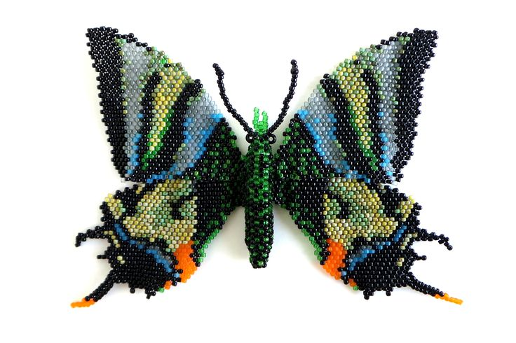 Бабочка из бисера.  Бабочка Тейнопальпус самка. Размах крыльев до 12 см.