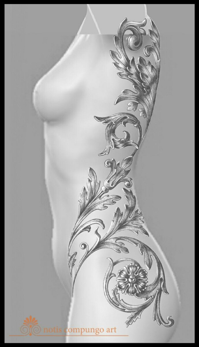 Baroque whole side tattoo design