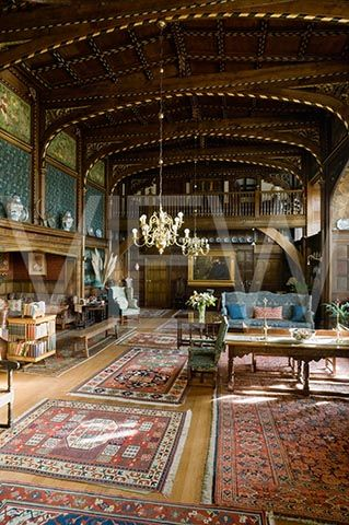 The Great Parlour at Wightwick Manor Wolverhampton West Midlands. Famous for Charles Kempe Friezes