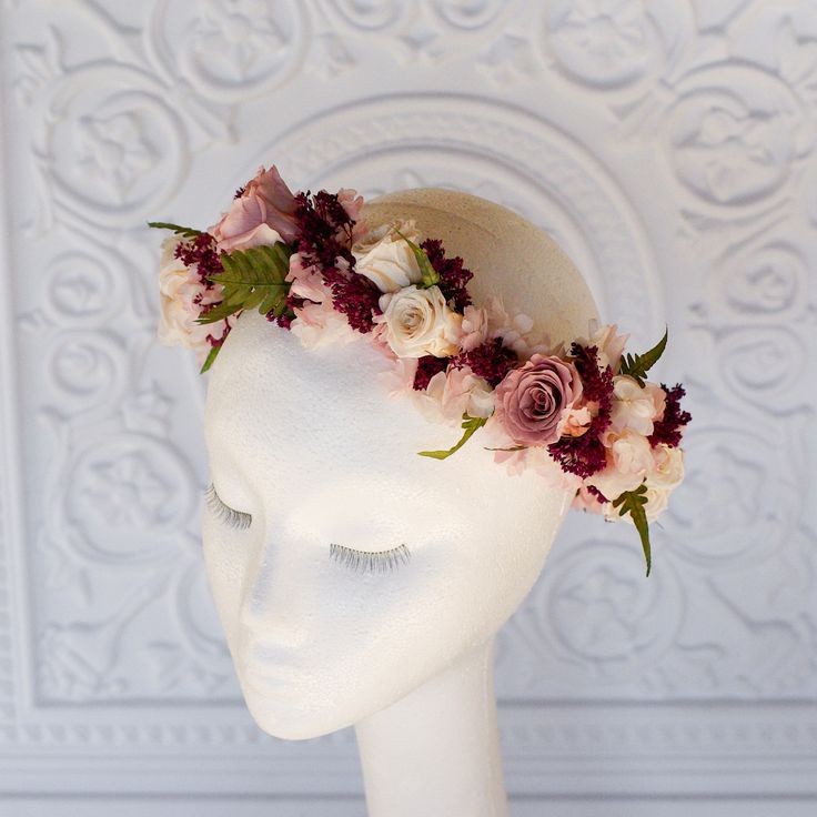 A floral crown made with all REAL preserved flowers that will not wilt on your wedding day. Made with roses, hydrangea, and ferns in shades of blush, dusty rose, wine, marsala and ivory perfect for we