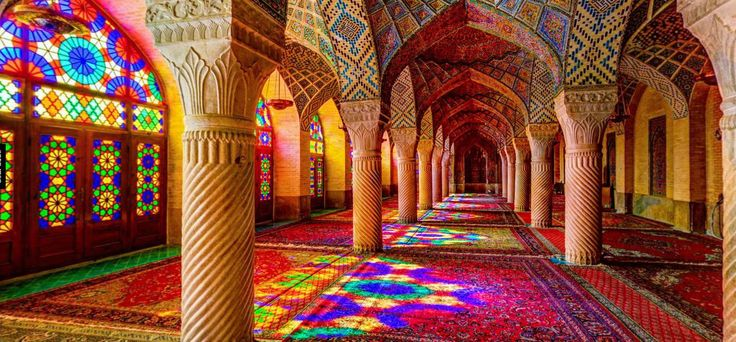 From the outside, the Nasir al-Mulk Mosque in Shiraz, Iran, seems like a fairly…