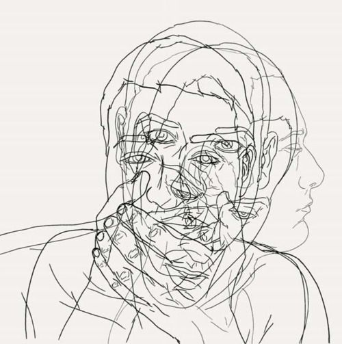 Mohises Maiques. Sharpie line drawings of different facial poses... could be interesting!!!