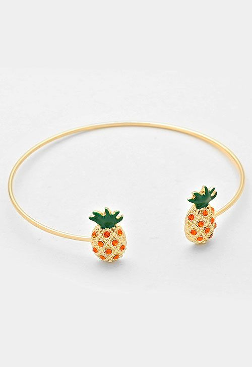 Delicate open enamel pineapple with orange rhinestones wire cuff bangle bracelet in gold.