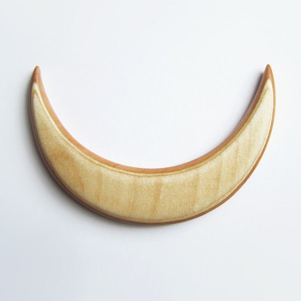 Hair Pins – Wooden Hairmoon From the Apple Wood – a unique product by forevahairforks on DaWanda