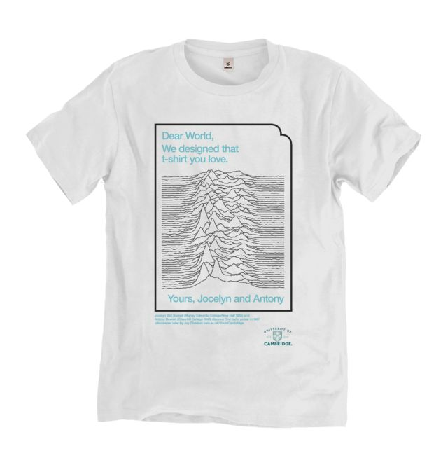 Pulsar T-shirt: One of a range of official apparel recognising the University of Cambridge and the achievements of its alumni and their impact on the world. #T-Shirt #Hoodie #Tote