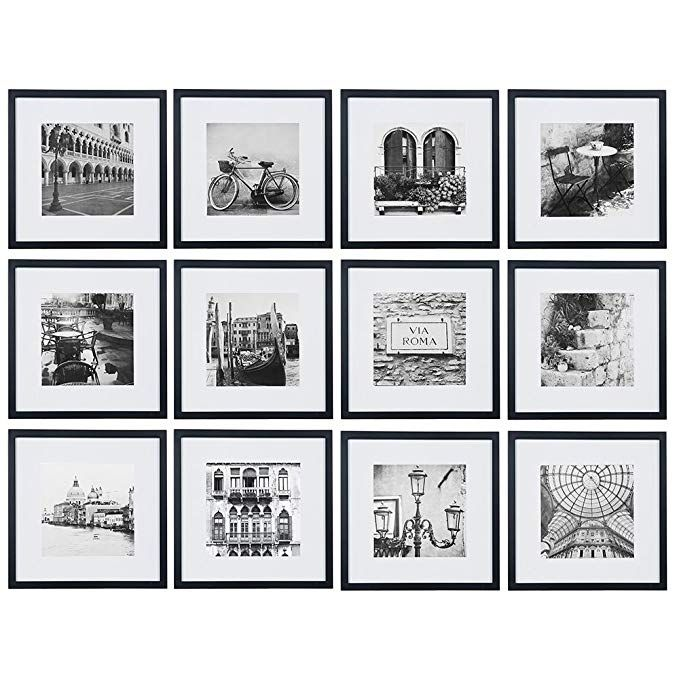 Gallery Perfect 12 Piece Black Square Photo Frame Gallery Wall Kit With Decorative Art Prints Hanging Gallery Wall Frames Photo Wall Gallery Gallery Wall Kit