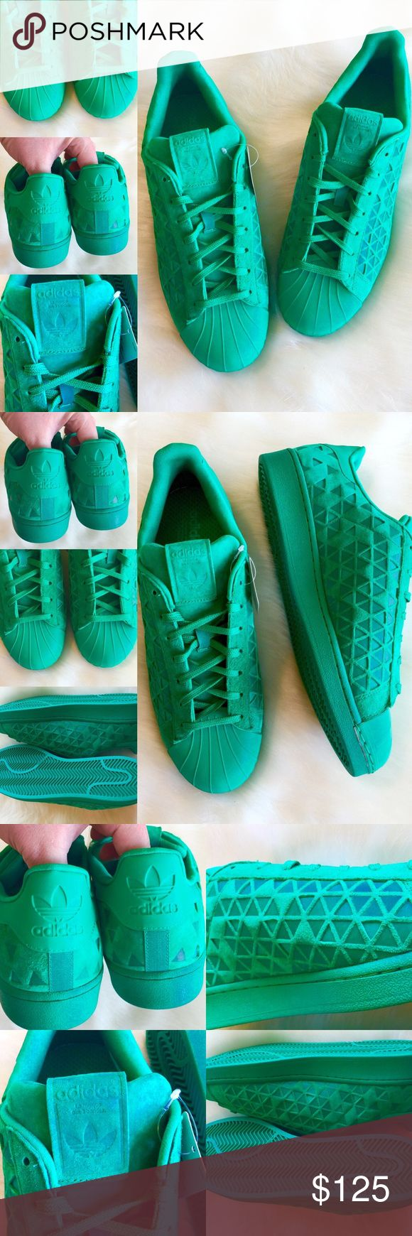 BRAND NEW! 🌟 Mens ADIDAS La Marque 3 Bandes, 12 All green and intricate detailing!  Awesome shoes!!!  Brand new with tag!  Men's size 12!  🌟🌟🌟 adidas Shoes