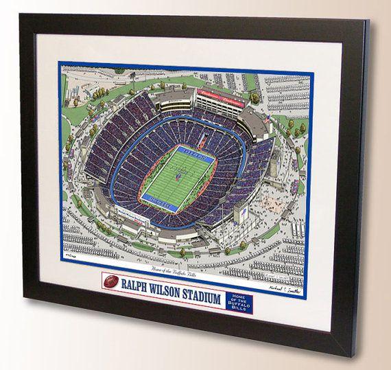 Pen and Ink print of Ralph Wilson Stadium, home of the Buffalo Bills