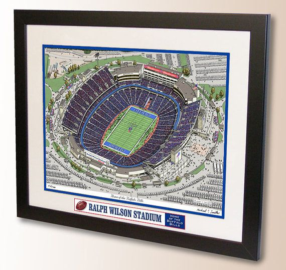 Pen and Ink print of Ralph Wilson Stadium, home of the Buffalo Bills