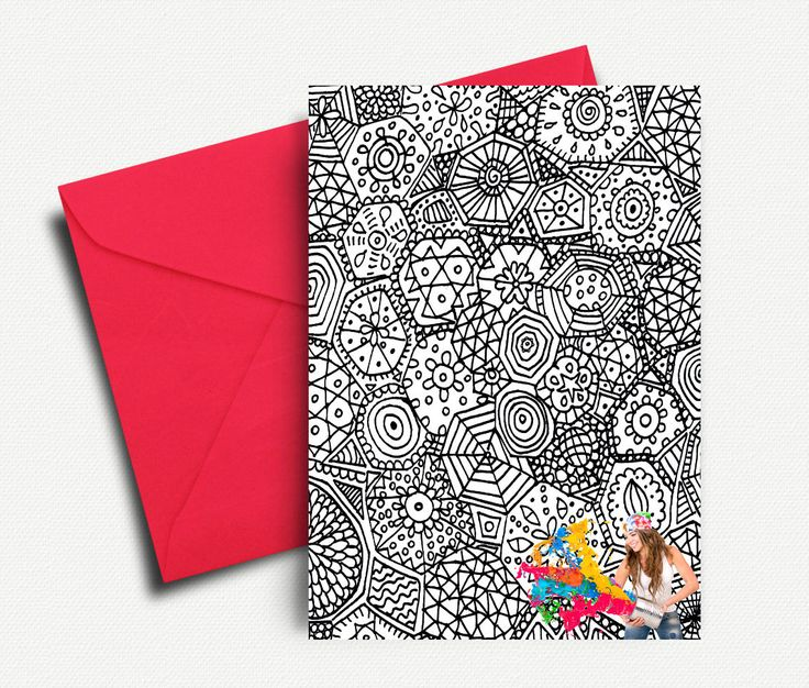 Adult Coloring Cards, Printable Coloring Cards, Zentangle Art, Colouring Cards, Print and Color, Thank you Cards, INSTANT DOWNLOAD by AthinArtPrint on Etsy
