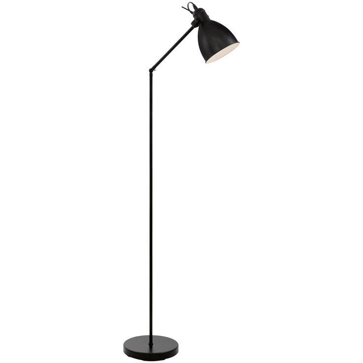 Lámpara de pie articulada, de aires vintage, fabricada en acero lacado en negro.   Su tulipa en blanca en el interior, permitiendo una mejor refracción de la luz. Esto la hace perfecta tanto para dar un punto de luz indirecta en tu salón como para la lectura en tu butaca favorita.