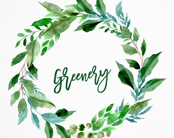 Watercolor Greenery Wreath Forest Wreath Clipart Leaves