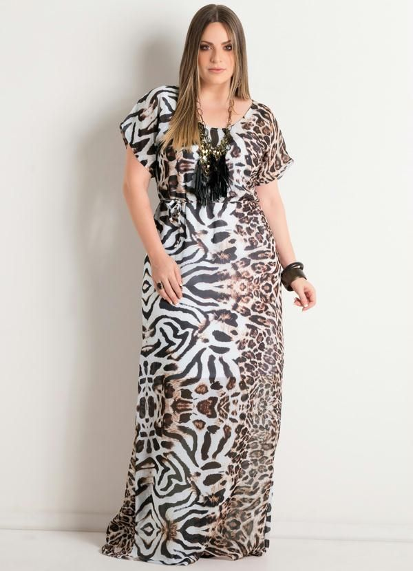 Vestido Longo (Animal Print) Plus Size