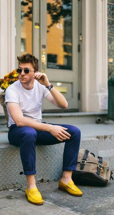 Men's Fashion & Shoes. Loving the pop of color! Shows the confidence one has in oneself.