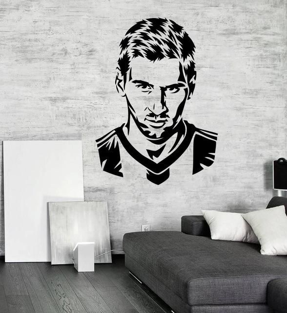 Handsome Football Player Messi Silhouette Wall Decal Sticker