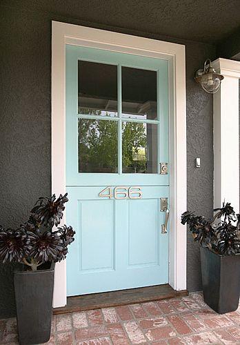 Dark gray and pale turquoise door, loving it
