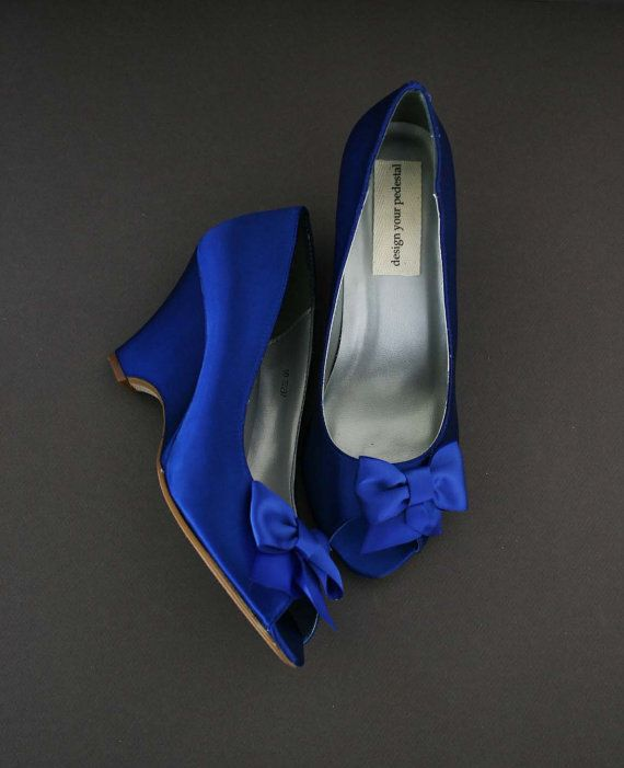 Wedding Shoes Wedge / Blue Wedding Shoes / by EllieWrenWeddingShoe