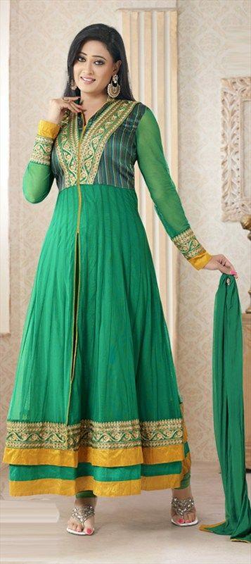 406245: #Green #Anarkali #Festivewear #ShwetaTiwari #Bollywood #TVActress #GetThisLook #Sale