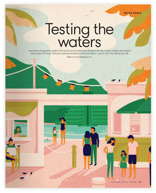 Thomas Cook - water parks - editorial illustrations by Cape Town, South Africa based studio MUTI.