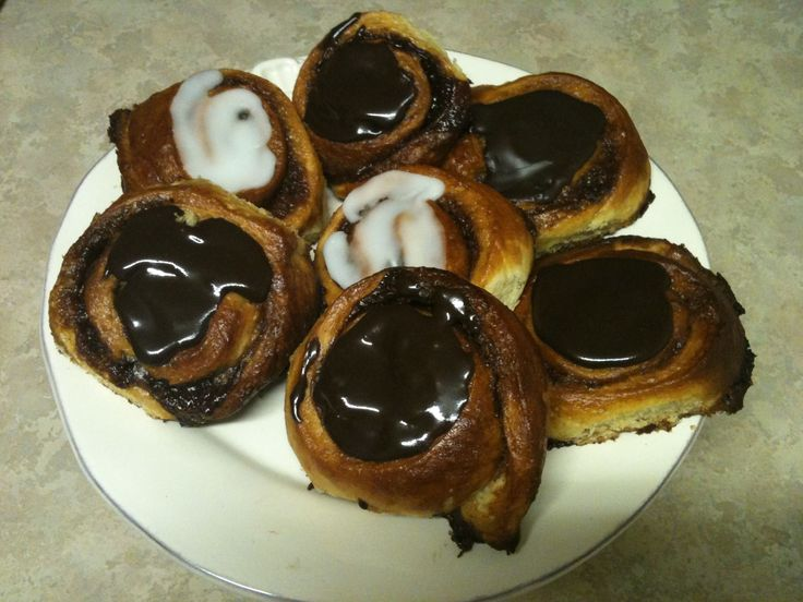 """Homemade wienerbroad (danish pastry) cinnamon """"snails' with chocolate icing! Yes ... we eat these for breakfast!"""