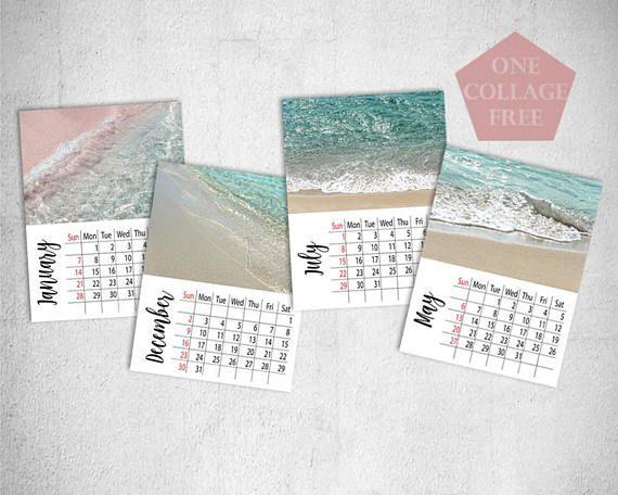 PRINTABLE Beach Calendar Sea Calendar 2018 Crystal Clear Sea