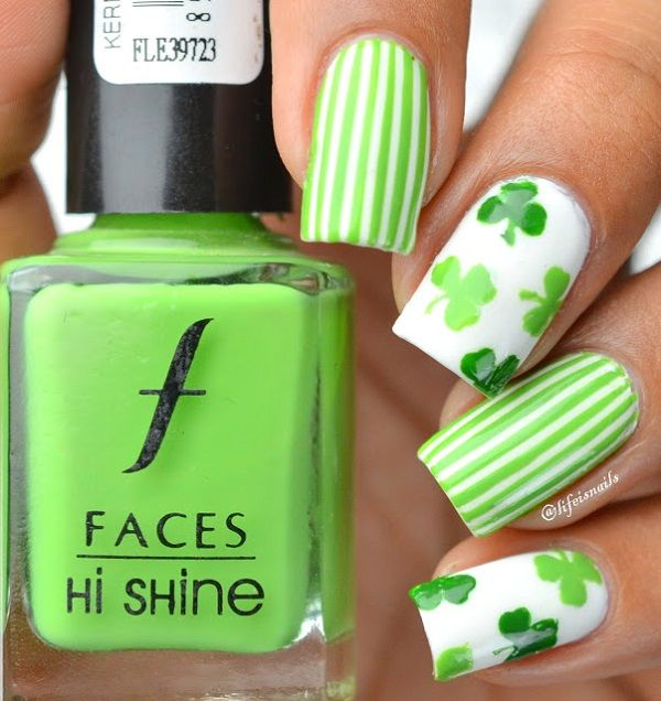 Fun and bright looking four leaf clover nail art design. The stripes and clover design gives your nails the cheerful and vibrant look together with the light color combinations that highlight each of the designs.
