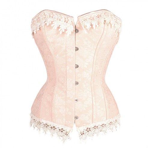 Viktorianisches Spiralstahlstab Korsett in Rosa