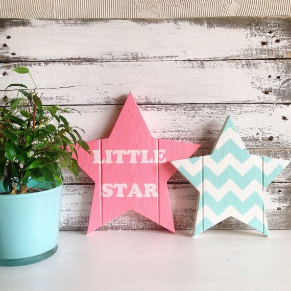 Wooden stars for wall decor by HobbymamaStore on Etsy