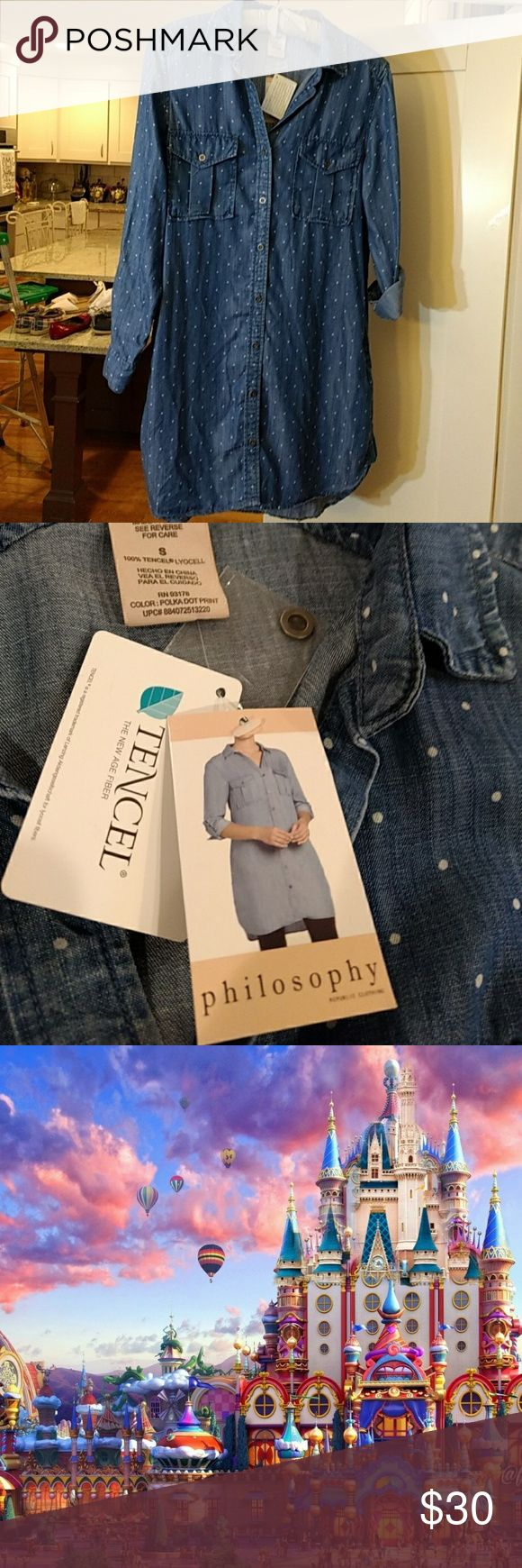 NWT Philosophy Dress *Lightweight Softest denim colored my dress *Sleeves roll up with button tab *Side Pockets ! *Shirt tail rounded hem *Looks great as it, or super cute with belt.  (Sorry, belt not included) Philosophy Dresses Midi