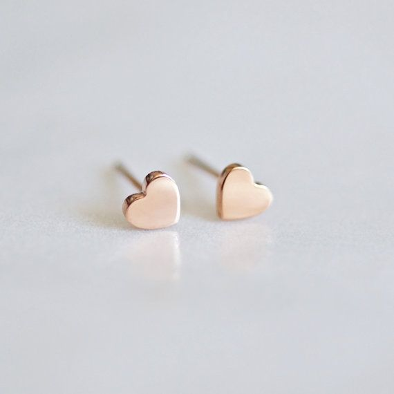 Tiny Heart Stud Earrings Minimalist by RabbitsFantasyWorld on Etsy