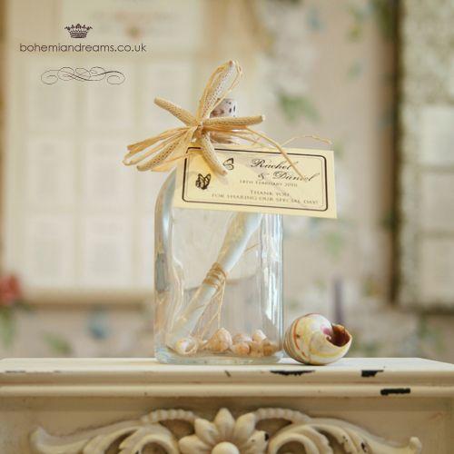 message in a bottle wedding favour  www.bohemiandreams.co.uk