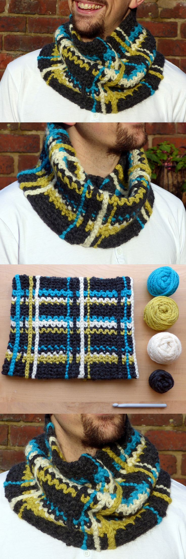 Plaid Cowl – A super easy free crochet pattern from Make My Day Creative. Para hombre patrón gratis.