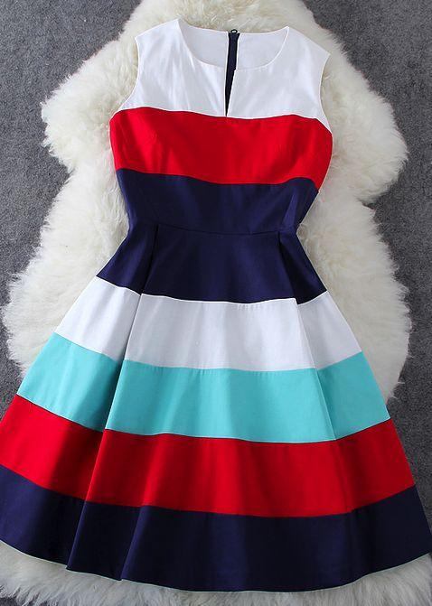 Color striped sleeveless dress