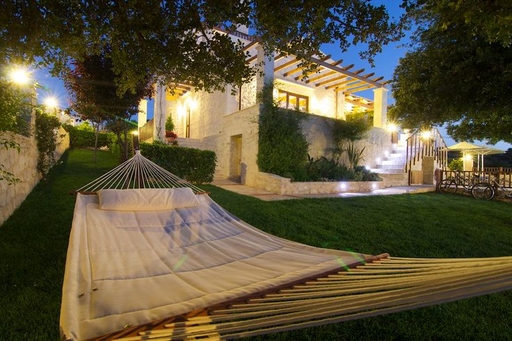 www.eleftherna.gr Villa Eleftherna Crete #villa #Crete #island #Greece #village #holidays #vacation_rental #luxury #private #summer_in_greece #visit_crete #hammock #pool_area
