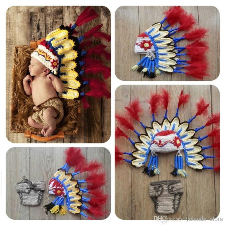 2015 New Thanksgiving Indian Crochet Knit Headress Hat & Diaper Cover Outift Newborn Photo Props Baby Caps & Hats Online with $32.47/Piece on Yolanda_store's Store | DHgate.com