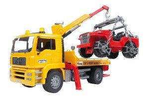 Bruder Man Tga Tow Truck With Cross Country Vehicle It has lots of working/moving parts, well constructed. It is accurate color yellow and details. The doors do not open. http://bit.ly/1ECAVOd