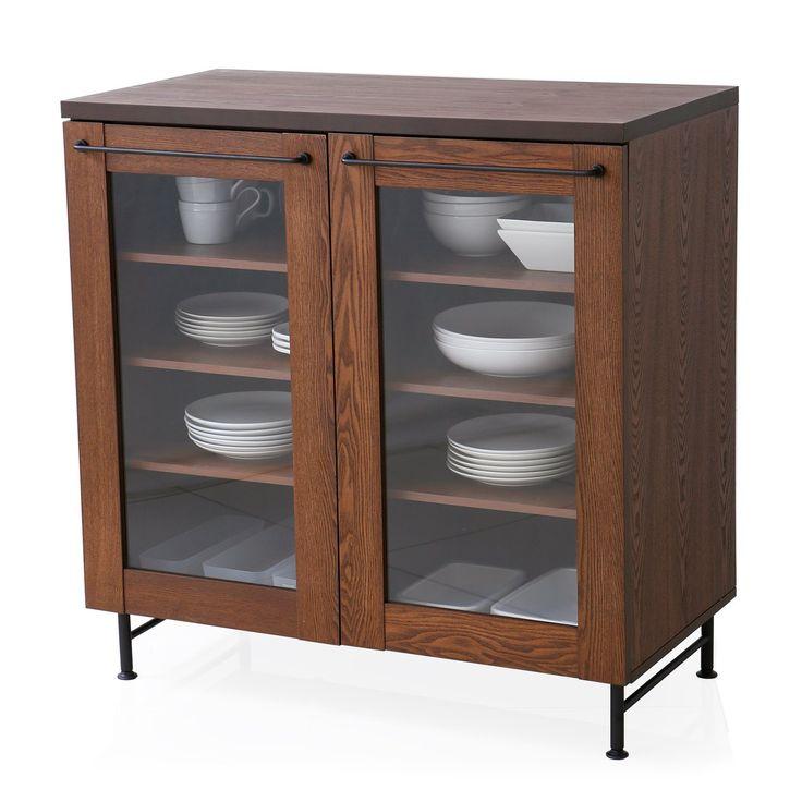 Amazon|食器棚 キッチン収納 木製 天然木 タモ材 スチール 可動棚 キャビネット Ctype 幅89cm 高さ90cm ブラウン|食器棚・ダイニングボード オンライン通販